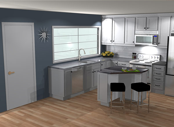 3D design rendering of a kitchen with cabinets and an island